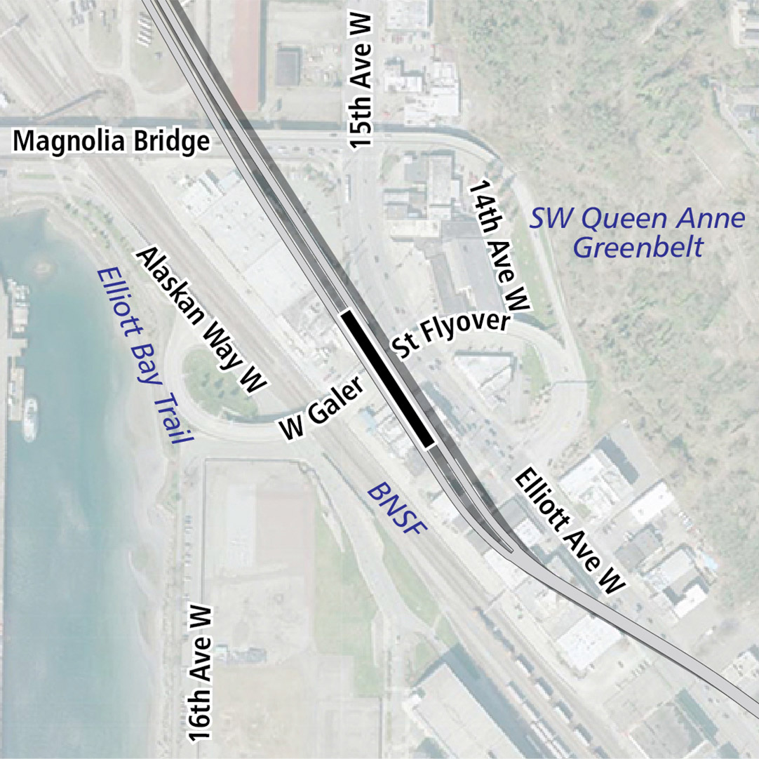 Map with black rectangle indicating station location on Elliott Avenue West. Map labels show Southwest Queen Anne Greenbelt, Elliott Bay Trail, BNSF and businesses nearby.