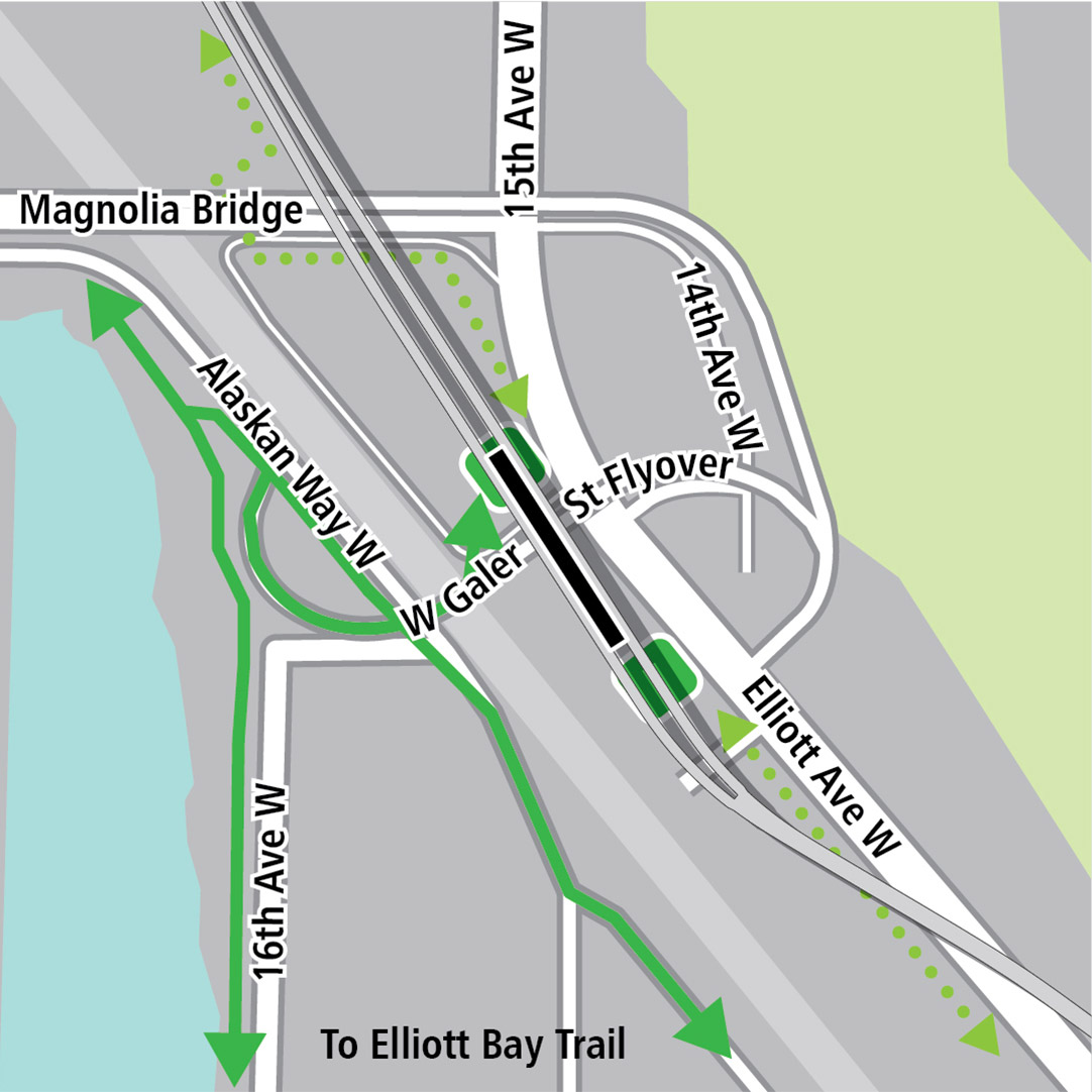 Map with black rectangle indicating station location on Elliott Avenue West, green lines indicating existing bike routes on West Galer Street, 16th Avenue West and Alaskan Way West and a dashed green line indicating a planned bike route along Elliot Ave W. Green squares indicating bike storage areas.