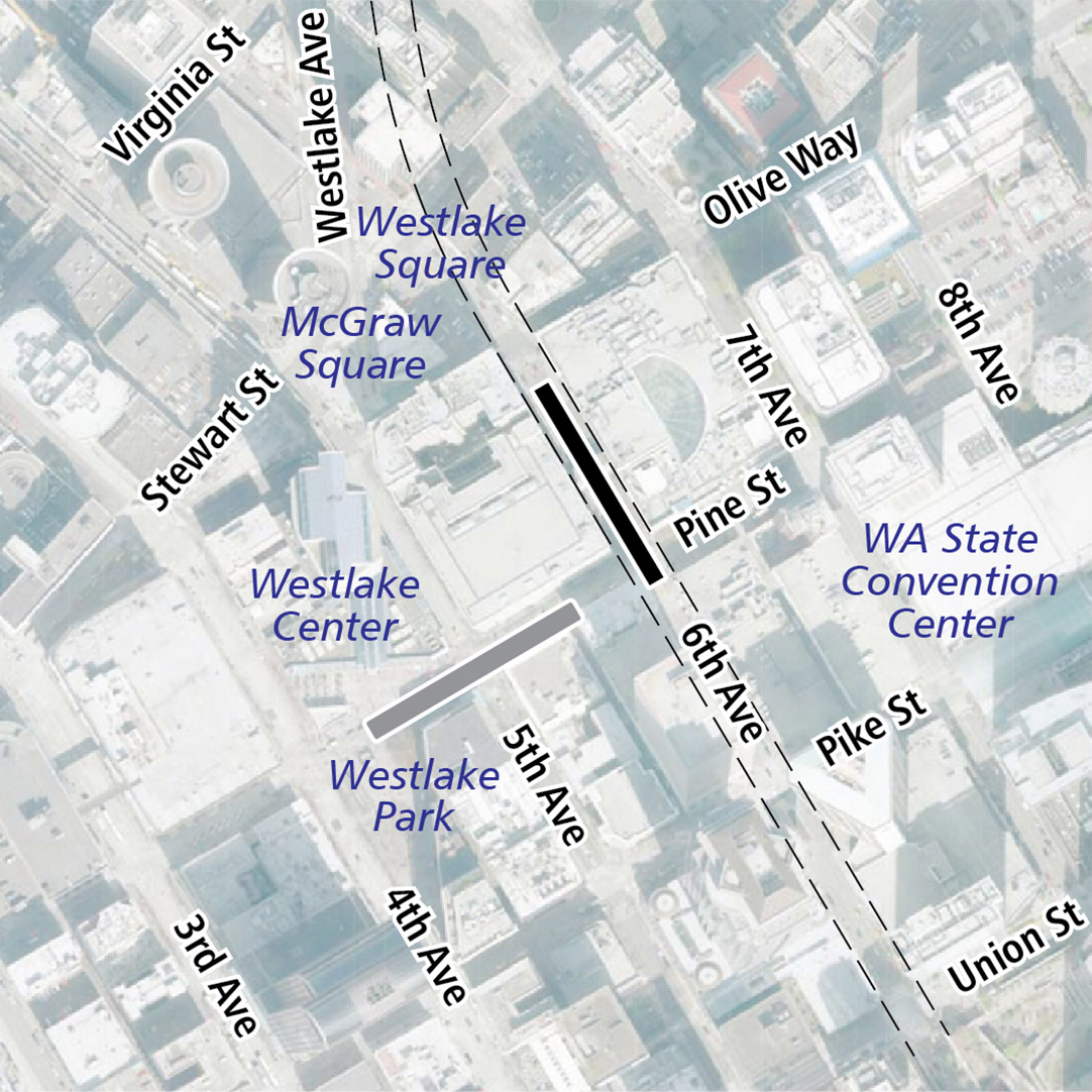 Map with black rectangle indicating station location on 6th Avenue and gray rectangle indicating existing LINK station location. Map labels show Westlake Square, McGraw Square, Westlake Center, Westlake Park and the Washington State Convention Center nearby.