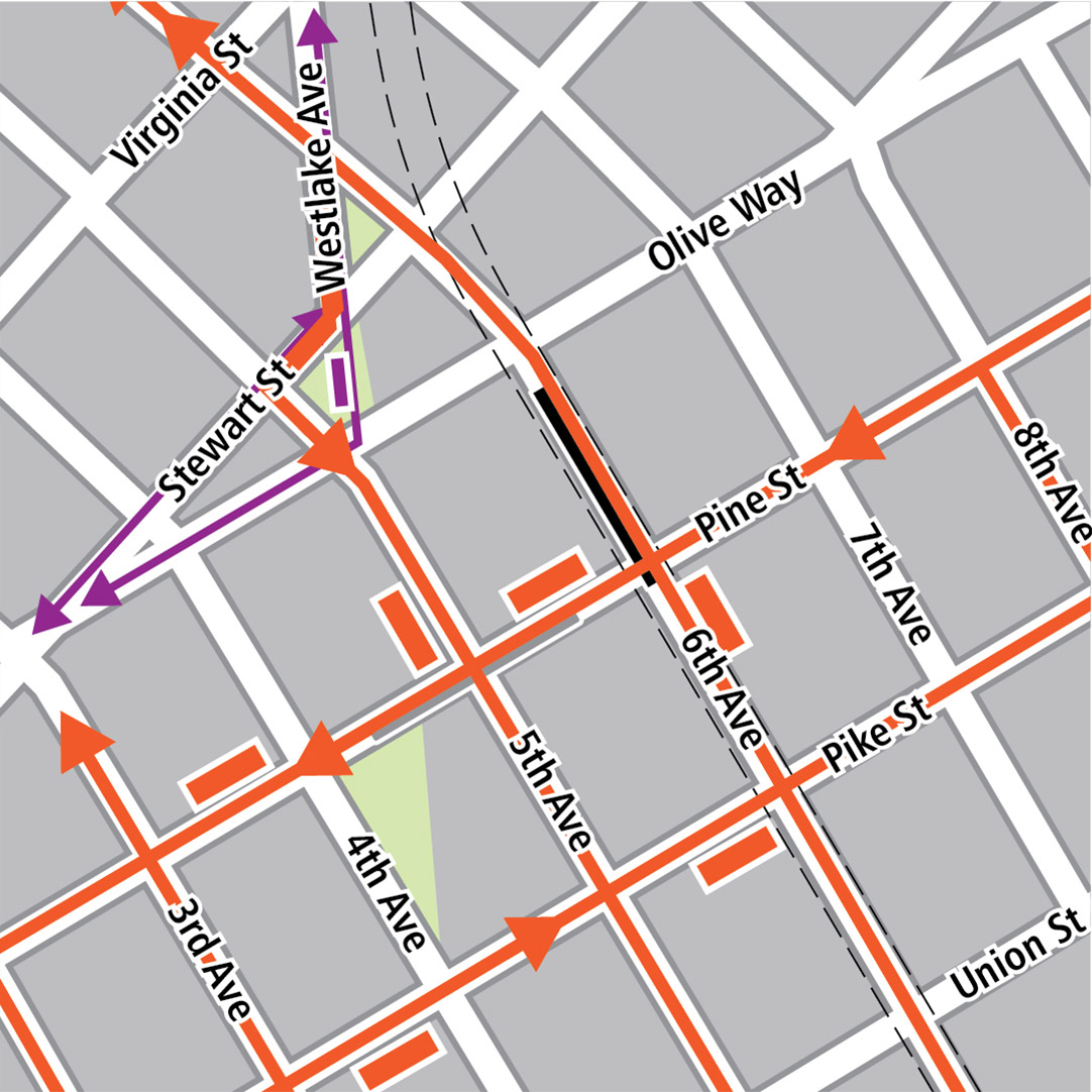 Map with black rectangle indicating station location on 6th Avenue, gray rectangle indicating existing LINK station location, orange rectangles indicating bus stops, orange lines indicating bus routes, purple rectangles indicating streetcar stops and purple lines indicating streetcar routes.