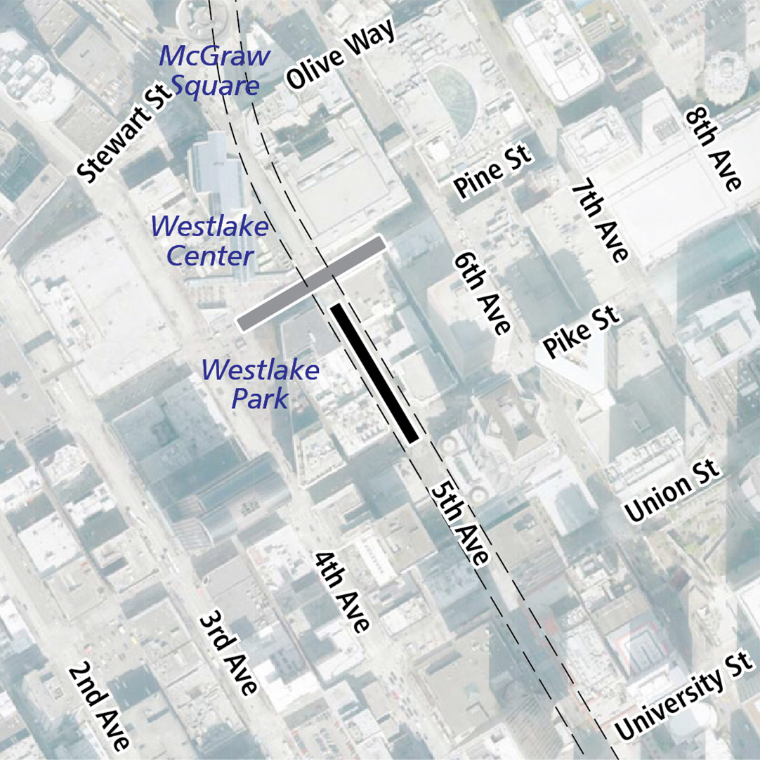 Map with black rectangle indicating station location on 5th Avenue and gray rectangle indicating existing LINK station location. Map labels show McGraw Square, Westlake Center and Westlake Park nearby.