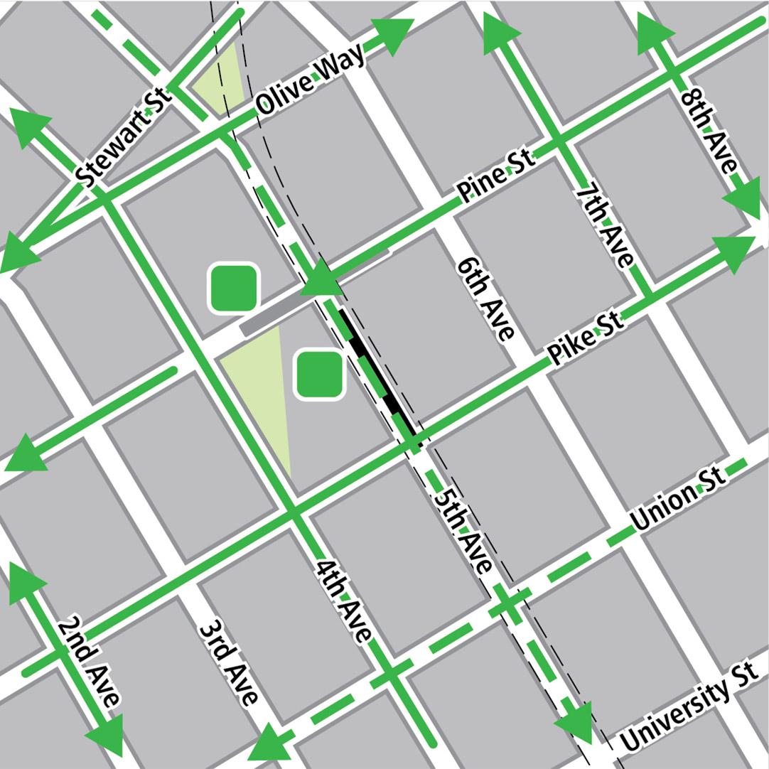 Map with black rectangle indicating station location on 5th Avenue, gray rectangle indicating existing LINK station location, green lines indicating existing bike routes, dashed green lines for planned bike routes and green squares indicating bike storage areas.