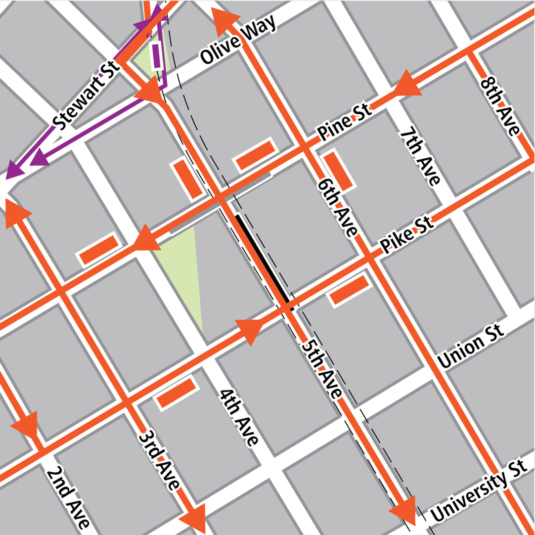 Map with black rectangle indicating station location on 5th Avenue, gray rectangle indicating existing LINK station location, orange rectangles indicating bus stops, orange lines indicating bus routes, purple rectangles indicating streetcar stops and purple lines indicating streetcar routes.