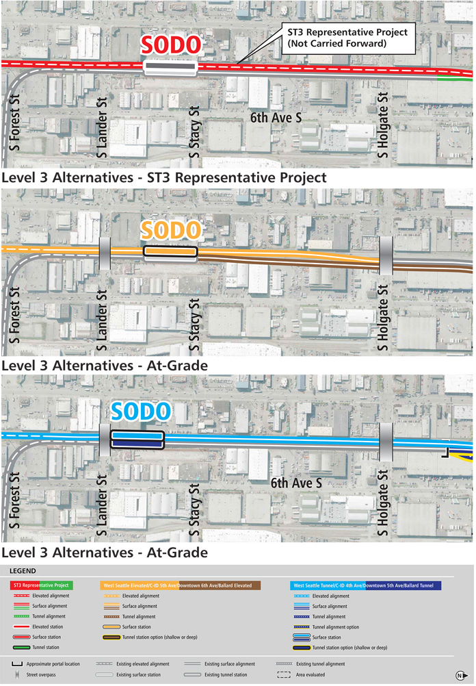 Three different maps of a Link light rail line in SODO from South Forest Street to South Holgate Street along SODO busway with one map showing elevated stations with a call-out box saying it was not carried forward. The other two maps have at-grade stations.