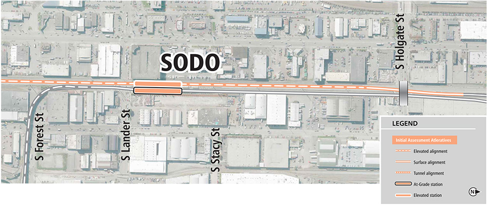 A map showing an elevated Link light rail line in SODO from South Forest Street to South Holgate street next to elevated SODO station along SODO busway.