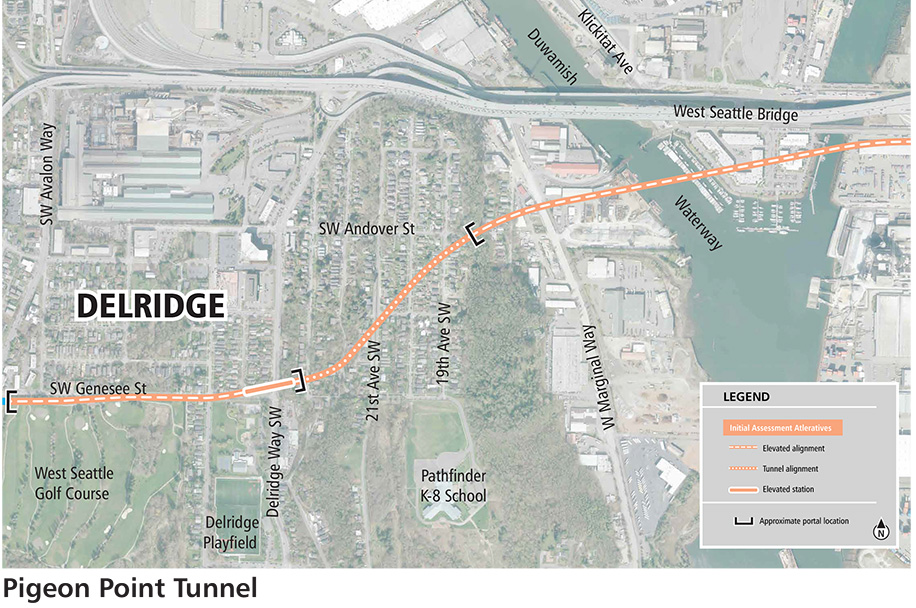 A map showing a Link light rail line in Delridge by the West Seattle Bridge to the northeast side of the West Seattle Golf Course via tunnel through Pigeon Point.