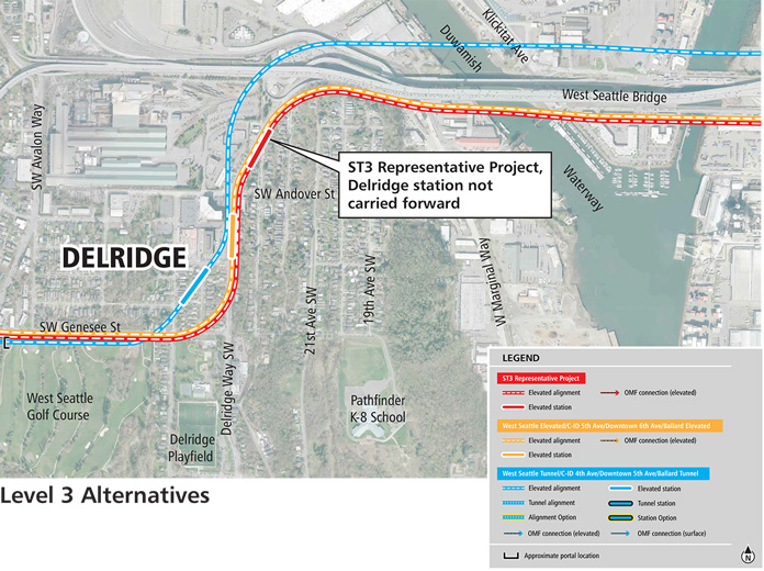 Three different maps of a Link light rail line in Delridge by the West Seattle Bridge to the northeast side of the West Seattle Golf Course. These alternatives have elevated guideways and multiple station location options.