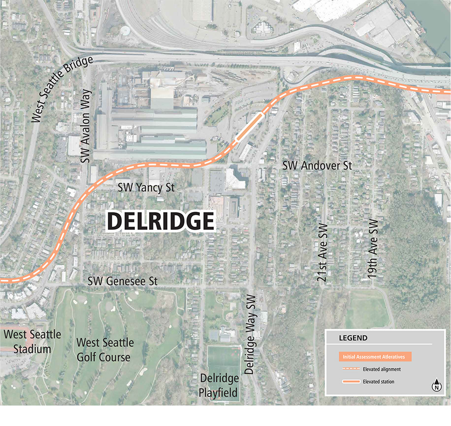 A map showing a Link light rail line in Delridge. Includes an elevated south Duwamish crossing to a Delridge station north of SW Andover Street and continues along an elevated guideway to an elevated Avalon station on SW Avalon Way.